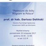 Plakat wykładu otwartego Posłuszni do bólu Milgram w Polsce
